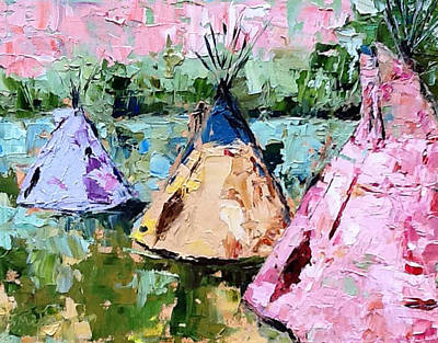 Painting - Tepees Times Three by Sylvia Miller