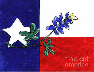 Drawing - Texas Bluebonnet by Vonda Lawson-Rosa