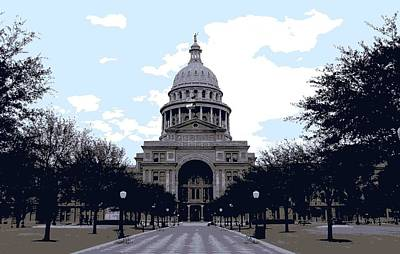 Heart Of Texas Digital Art - Texas Capitol Color 6 by Scott Kelley