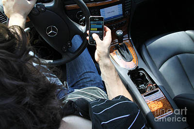 Texting And Driving Art Print by Photo Researchers, Inc.