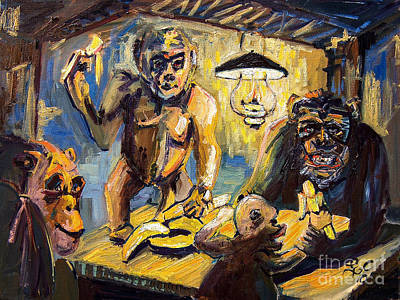 Yellow Bananas Painting - The Banana Eaters by Ginette Callaway