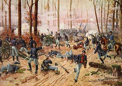 Civil Painting - The Battle Of Shiloh by Henry Alexander Ogden