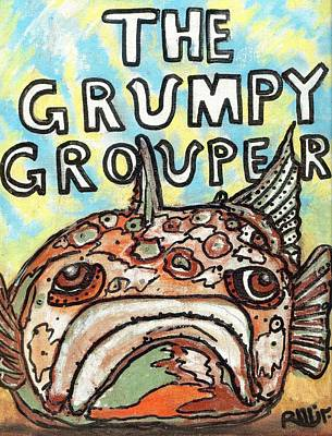 Post Contemporary Painting - The Grumpy Grouper by Robert Wolverton Jr