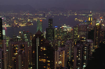 The Hong Kong Skyline Seen Art Print by Justin Guariglia