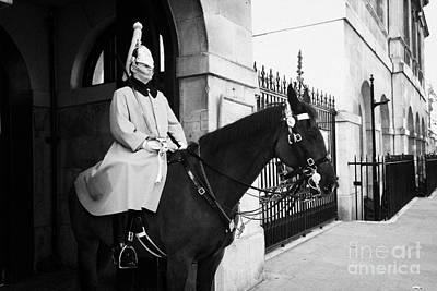 The Household Cavalry Life Guards On Guard Duty In Whitehall London England Uk United Kingdom Print by Joe Fox