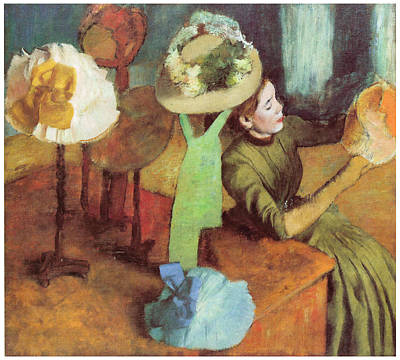 The Millinery Shop Painting - The Millinery Shop by Edgar Degas
