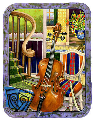 Cello Painting - The Music Lesson by Anne Gifford