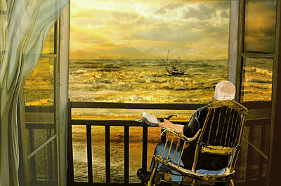 Old Man Fishing Painting - The Old Man And The Sea by Anne Weirich