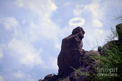 Phoenix Lightning Photograph - The Praying Monk With Halo - Camelback Mountain by James BO  Insogna