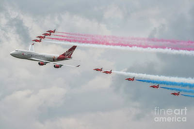 Red Photograph - The Red Arrows by Lee-Anne Rafferty-Evans