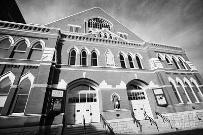 The Ryman Auditorium Former Home Of The Grand Ole Opry And Gospel Union Tabernacle Nashville Art Print by Joe Fox