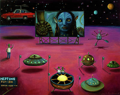 Drive In Painting - The Sighting At The Neptune Fly In by Leah Saulnier The Painting Maniac
