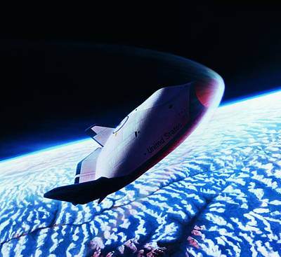 The Space Shuttle Re-entering The Earth's Atmosphere Art Print by Stockbyte