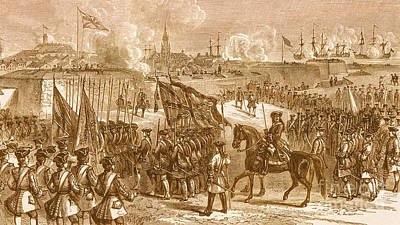 Seven Years War Photograph - The Surrender Of Louisbourg, 1758 by Photo Researchers
