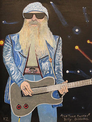 Painting - The Tone Master.billy Gibbons. by Ken Zabel