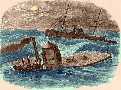 The Wreck Of The Ironclad Monitor, 1862 Art Print by Photo Researchers
