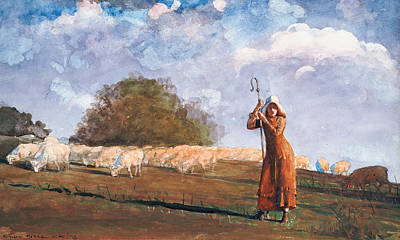 On Paper Painting - The Young Shepherdess by Winslow Homer