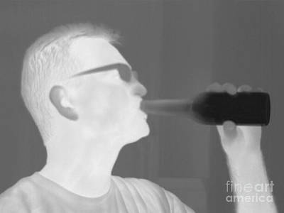 Thermographic Photograph - Thermogram Of A Man Drinking by Ted Kinsman