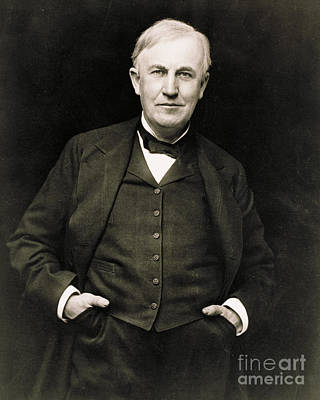 Invention Of Motion Photograph - Thomas Edison, American Inventor by Photo Researchers