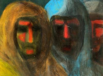 Iraq Painting - Three Figures by Chester