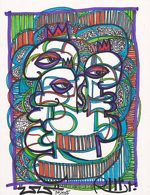 Abstract Expressionism Drawing - Three Kings by Robert Wolverton Jr