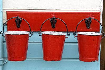 Three Red Buckets Art Print by John Short