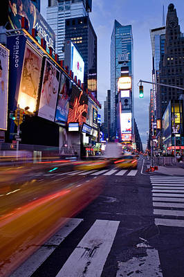 Crosswalk Photograph - Times Square, Theatre District, Manhattan, New York, Usa by Ben Pipe Photography
