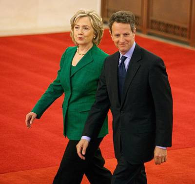 Timothy Geithner And Hillary Clinton Art Print