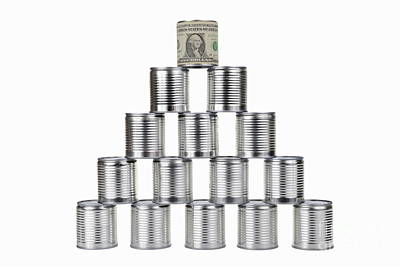 On Paper Photograph - Tin Can Surrounded By Us Dollar Note On Top Of Pyramid by Sami Sarkis