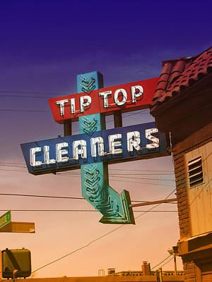 Photograph - Tip Top Cleaners Retro Sign by Kathleen Grace