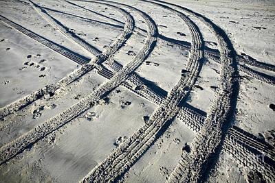 Tire Tracks And Footprints, Long Beach Peninsula, Washington Art Print by Paul Edmondson