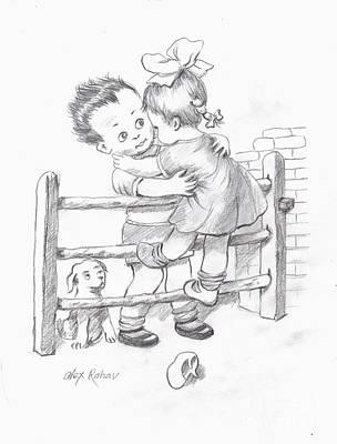 Drawing - Toddlers 2 by Alex Rahav