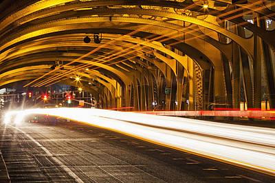 Traffic Congestion Photograph - Tower Bridge At Night Sacramento by Bryan Mullennix