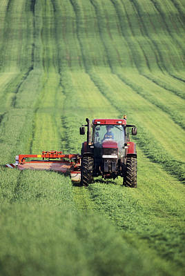 Tractor Cutting Grass For Silage Art Print by Jeremy Walker