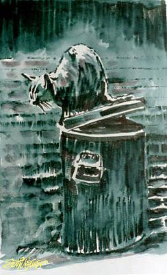 Sethweaver Drawing - Trashcan Tom by Seth Weaver
