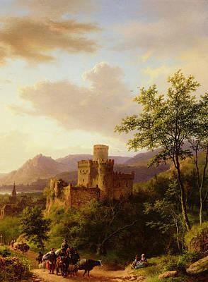 Travellers On A Path In An Extensive Rhineland Landscape Art Print by Barend Cornelis Koekkoek