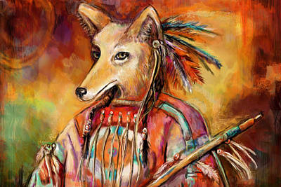 Old Man Coyote Mixed Media - Trickster by Lakota Phillips