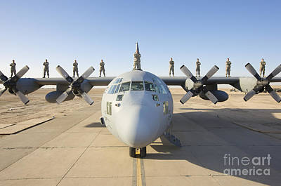 Troops Stand On The Wings Of A C-130 Art Print by Terry Moore