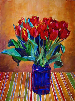 Tablecloth Painting - Tulips In Blue Glass by David Lloyd Glover