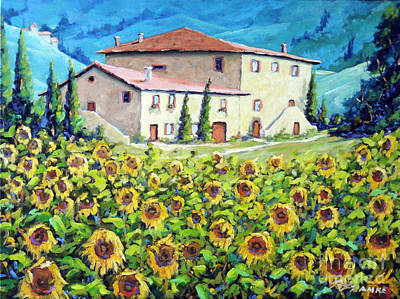 Tuscan Sunflowers Painting - Tuscan Sunflowers  by Richard T Pranke