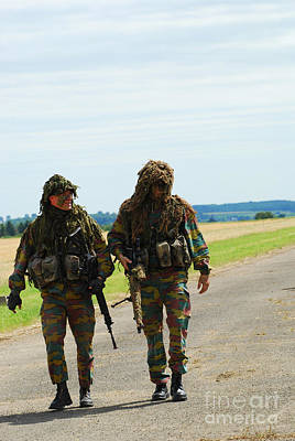 Two Snipers Of The Belgian Army Dressed Art Print by Luc De Jaeger
