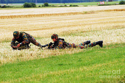 Two Soldiers Of The Belgian Army Art Print by Luc De Jaeger