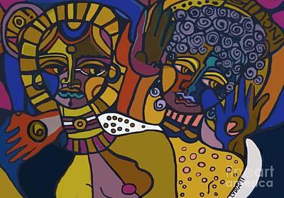 Pastel - two Women Gold by Lydia L Kramer