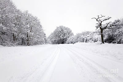 Carriageway Photograph - Tyre Tracks In The Snow by Richard Thomas