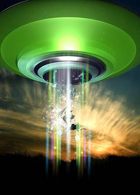 Paranormal Digital Art - Ufo Cattle Abduction, Conceptual Artwork by Victor Habbick Visions