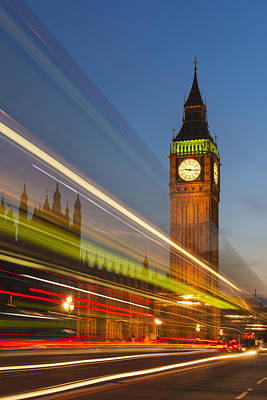 Y120907 Photograph - Uk, England, London, Big Ben And Light Trails At Night by Tetra Images