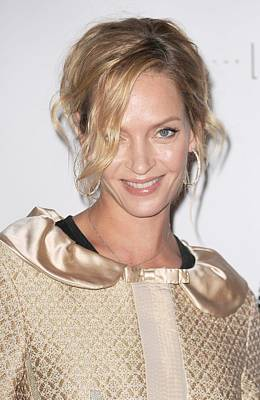 Hair Bun Photograph - Uma Thurman In Attendance For Friars by Everett
