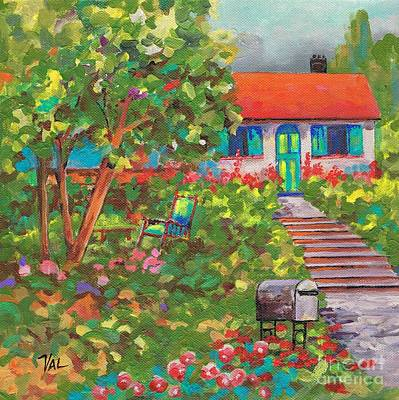 Up The Garden Path Art Print by Val Stokes