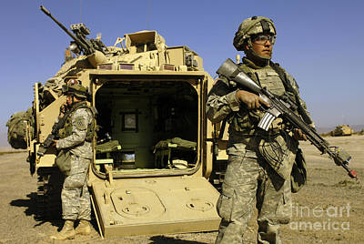 Battle Tank Photograph - U.s. Army Soldiers Provide Security by Stocktrek Images