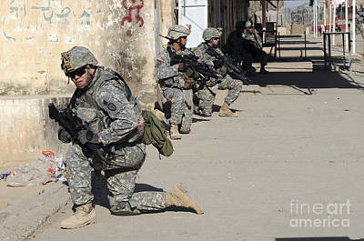 U.s. Army Soldiers Providing Security Art Print by Stocktrek Images